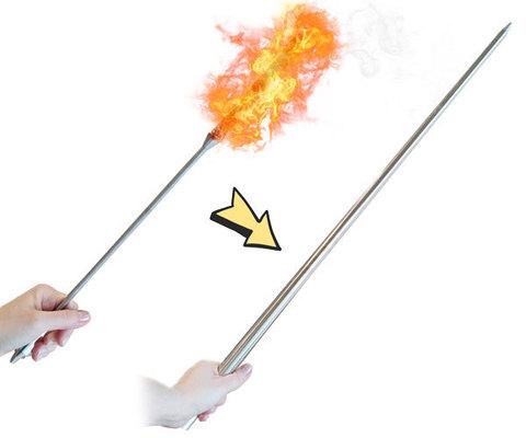 Факел превращается в трость - фокус