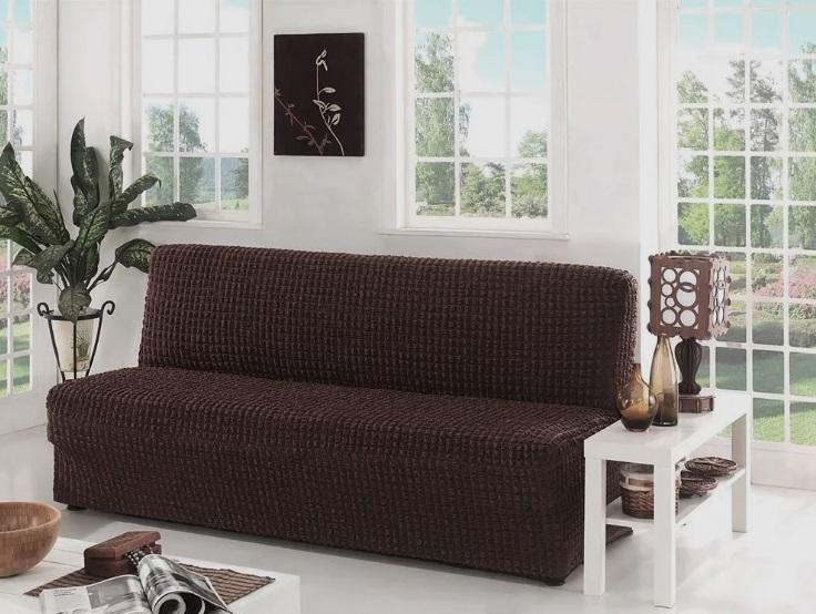 Чехол на диван без подлокотников, шоколад