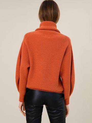Женский свитер терракотового цвета из шерсти и кашемира - фото 4