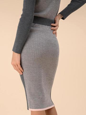 Женская юбка темно-серого цвета из 100% шерсти - фото 4