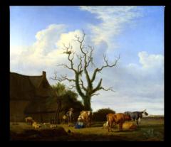 """Репродукция """"Адриан ван де Вельде - Ферма с мертвым деревом"""""""