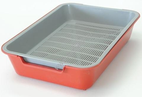 HOMECAT туалет для кошек с сеткой на ножках 2 см красный 37х27х8 см