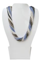 Бисерное ожерелье из 36 нитей цвет серо-синее