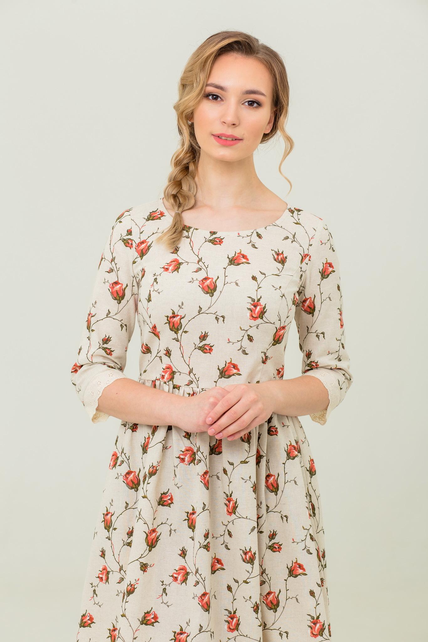 платье льняное с кружевом Мрия