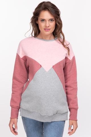 Утепленный свитшот для беременных и кормящих 11027 серо-розовый