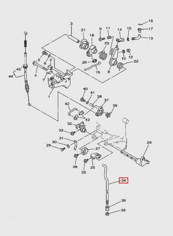 Тяга переключения передач  для лодочного мотора T15, OTH 9,9 SEA-PRO (12-34)