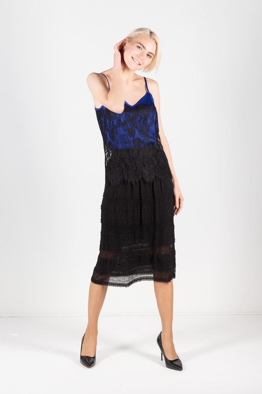 Юбка Б113-699 - Удлиненная юбка из трикотажного кружева с эффектом многоярусности. Пояс - широкая резинка. На подкладке.
