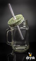 Баночка для смузи и коктейлей, прозрачная с зелёной крышкой в звёздочки, фото 4
