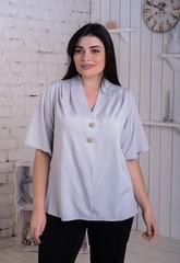 Хильда. Нежная женская блуза больших размеров. Серый
