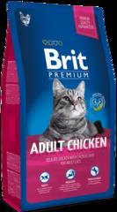Корм для взрослых кошек, Brit Premium Cat Adult Chicken, с мясом курицы и куриной печенью