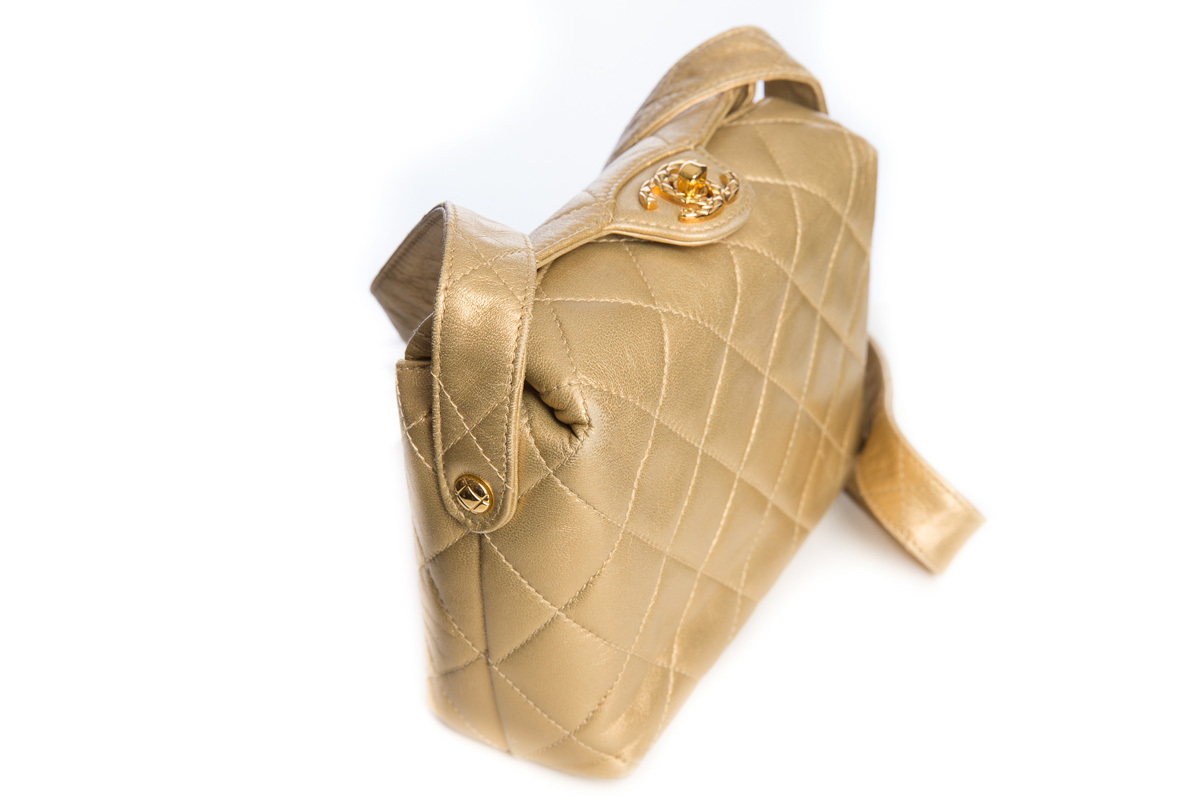 Chanel Gold Quilted Flap Mini Shoulder Bag