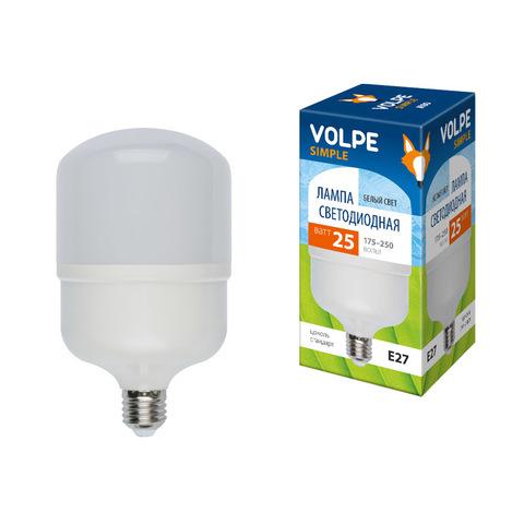 LED-M80-25W/NW/E27/FR/S Лампа светодиодная с матовым рассеивателем. Материал корпуса термопластик. Цвет свечения белый. Серия Simple. Упаковка картон. ТМ Volpe