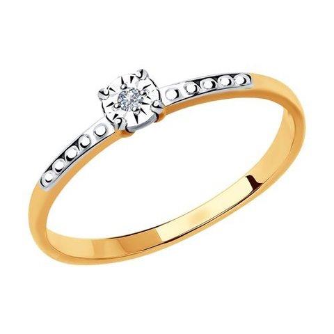 1011804 - Кольцо из комбинированного золота с бриллиантом