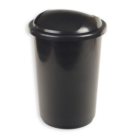 Ведро мусорное 12л пластик, черный металлик с крышкой-вертушкой