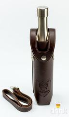 Фляга бутылка «СССР», в коричневом кожанном чехле, 800 мл, фото 1