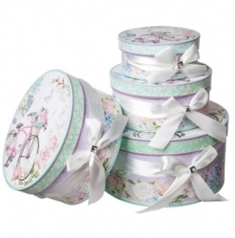 Набор коробок круглых Романтик 4шт, D23хH10см, розовый/голубой