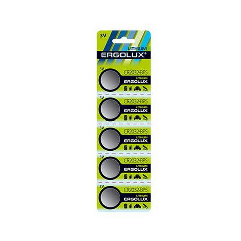 Батарейки литиевые Ergolux CR 2032, 3V, 5 BL