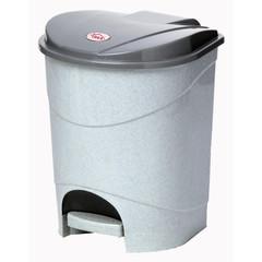 Ведро мусорное с педалью 11л пластик, серое+внутреннее ведро с ручкой
