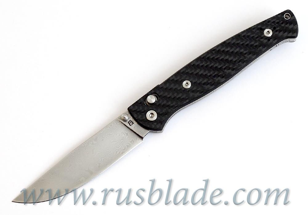 Cheburkov Leader Damascus Folding Knife Axis Carbon Fiber Best Russian Knives