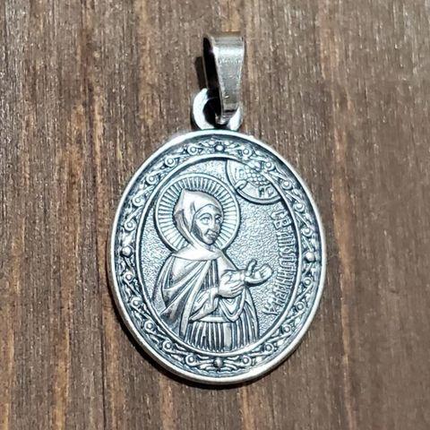 Нательная именная икона святая Аполлинария (Полина) с серебрением кулон медальон с молитвой