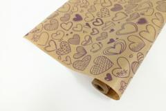 Упаковочная бумага Крафт Сердечки фигурные, Фиолетовый (0,72 х 10 м) , 1 шт