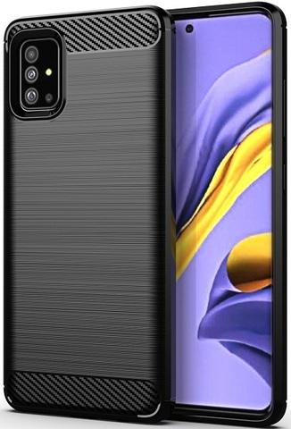 Чехол Samsung Galaxy A51 (M40S) цвет Black (черный), серия Carbon, Caseport