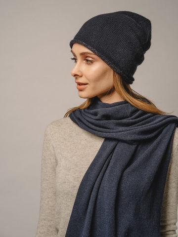 Женская темно-синяя шапка из 100% кашемира - фото 2