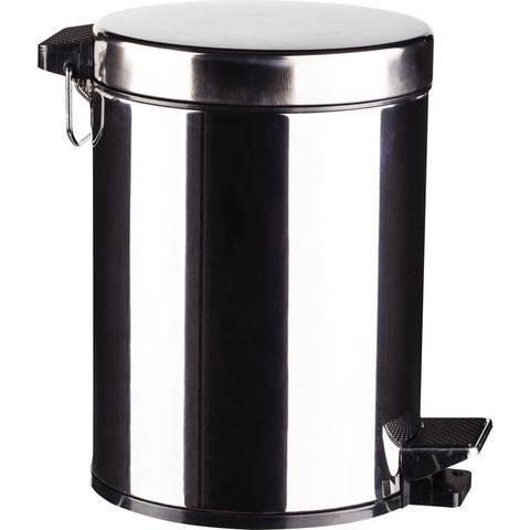 Ведро мусорное с педалью 5 л нерж.сталь, металл с педалью, внутр.контейнер