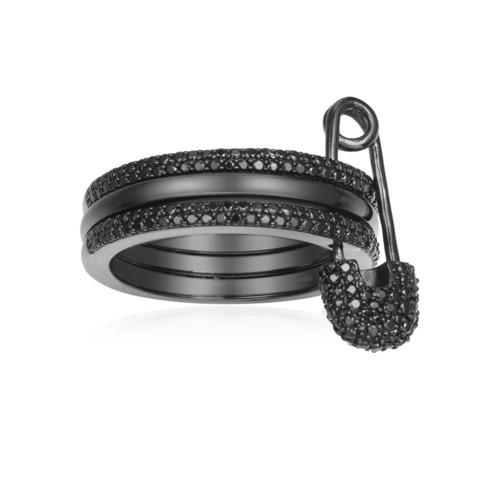 Кольцо с булавкой из черного серебра в стиле APM MONACO