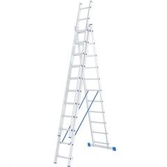 Лестница, 3 х 11 ступеней, алюминиевая, трехсекционная, Россия, Сибртех
