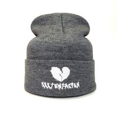 Вязаная шапка с вышивкой XXXTentacion (Онфрой) серая