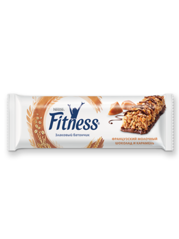 """Батончик цельный """"Fitness"""" злаковый молочный шоколад карамель 23,5г"""