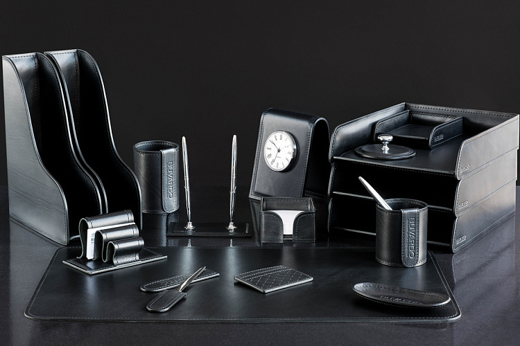 Настольный набор для руководителя 17 предметов из кожи Full Grain Black