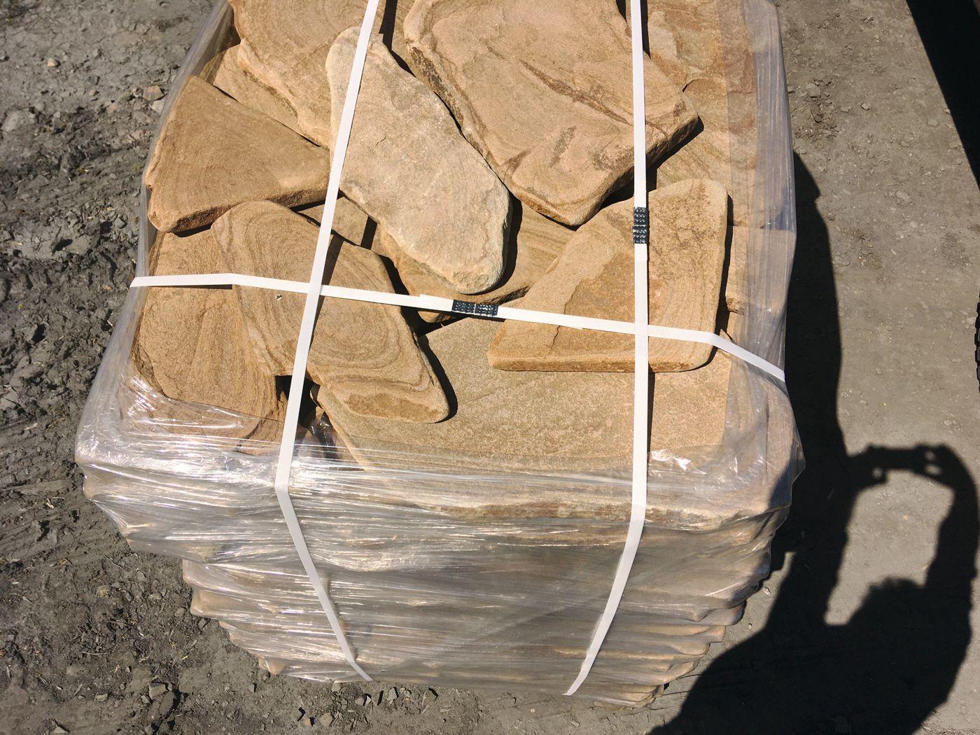 Песчаник галтованный Ручейник Ясень на паллете