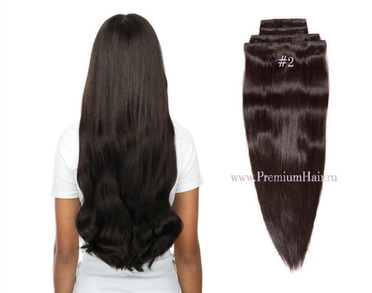 Натуральные волосы на заколках тон 2 темно-коричневый