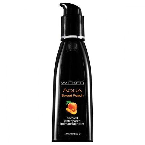 Съедобная смазка с вкусом спелого персика WICKED AQUA Sweet Peach - 120 мл.