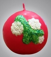 Свеча рождественская Шар красный с налепкой