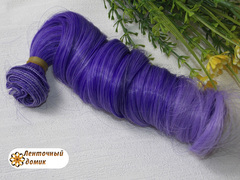 Пряди для бантиков крупный локон фиолетовая сирень (пучок опт)