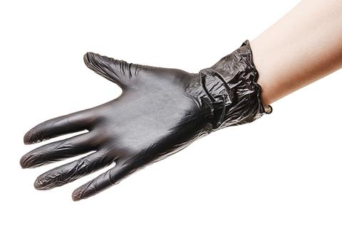 Перчатки виниловые чёрные 50 штук, размер S