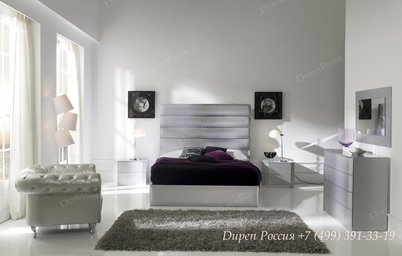 Кровать DUPEN 885 MAR, Тумба DUPEN М-102 серебро, комод DUPEN С-102 серебро, зеркало DUPEN E-96 серебро