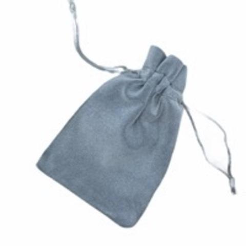 Бархатный мешочек для упаковки украшений серый (большой)