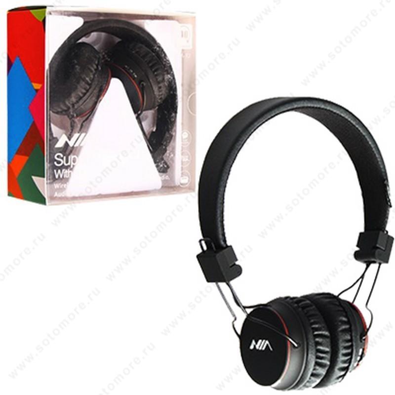 Наушники беспроводные Nia NIA-X2 wireless с кнопкой ответа, micro SD player, FM радио черный
