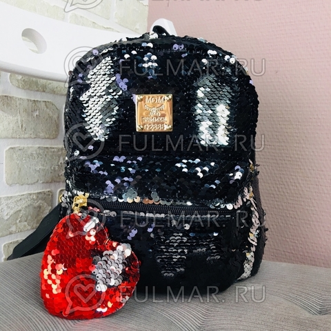 Рюкзак детский с двусторонними пайетками меняет цвет Чёрный-Серебристый и брелок Сердце (24х20х10 см) Классика