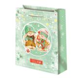Подарочный пакет Зайка Ми Новый год зеленый (средний)