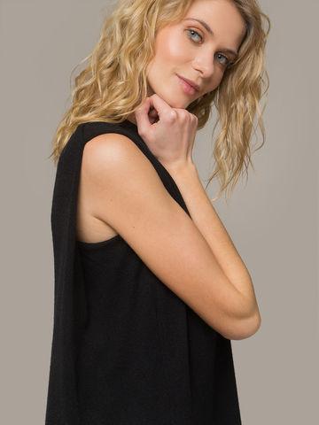 Женское черное платье свободного кроя без рукавов из 100% кашемира - фото 2