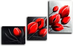 """Модульная картина """"Красные бутоны"""""""