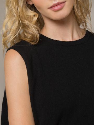 Женское черное платье свободного кроя без рукавов из 100% кашемира - фото 4