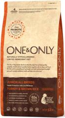 Корм для юниоров в возрасте от 4 месяцев, ONE&ONLY Turkey & Rice JUNIOR All Breeds, с индейкой и рисом