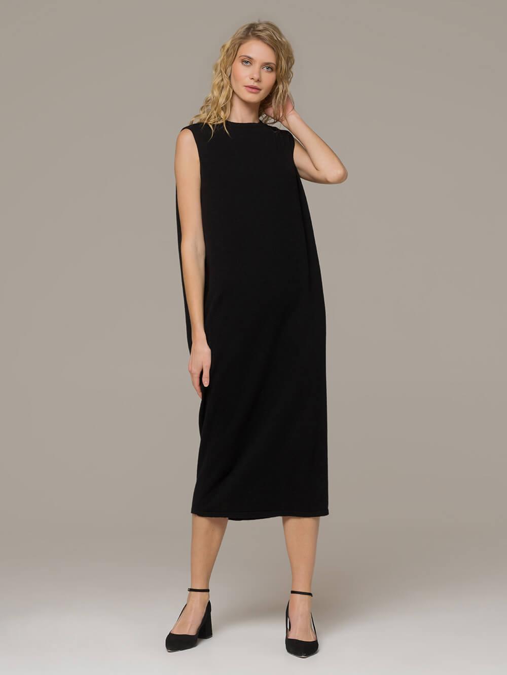 Женское черное платье свободного кроя без рукавов из 100% кашемира - фото 1
