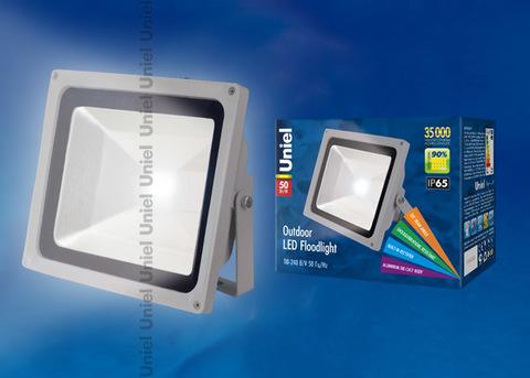 ULF-S01-50W/DW IP65 110-240В Прожектор светодиодный. Корпус серый. Цвет свечения дневной. Степень защиты IP65. Картонная упаковка